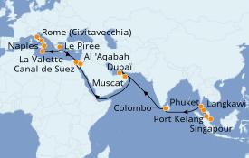 Itinéraire de la croisière Méditerranée 29 jours à bord du Grand Princess