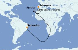 Itinéraire de la croisière Transatlantiques et Grands Voyages 2021 11 jours à bord du MSC Seaside