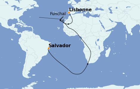 Itinéraire de la croisière Transatlantiques et Grands Voyages 2021 10 jours à bord du MSC Seaside