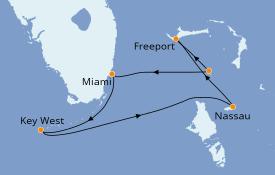 Itinéraire de la croisière Bahamas 6 jours à bord du Norwegian Sky