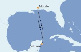 Itinéraire de la croisière Caraïbes de l'Ouest 6 jours à bord du Carnival Fascination