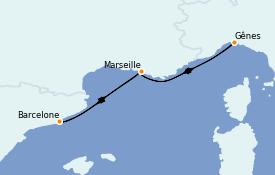 Itinéraire de la croisière Méditerranée 5 jours à bord du MSC Poesia