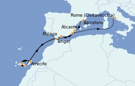 Itinerario de crucero Mediterráneo 12 días a bordo del MS Riviera