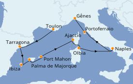 Itinéraire de la croisière Méditerranée 11 jours à bord du Costa Victoria