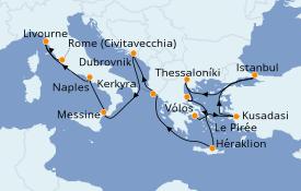 Itinéraire de la croisière Grèce & Adriatique 12 jours à bord du Norwegian Jade