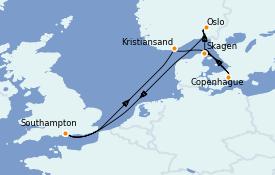 Itinéraire de la croisière Mer Baltique 8 jours à bord du Regal Princess