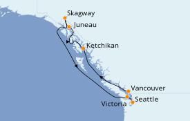 Itinéraire de la croisière Alaska 8 jours à bord du Emerald Princess