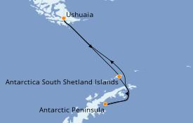 Itinéraire de la croisière Exploration polaire 12 jours à bord du Le Commandant Charcot