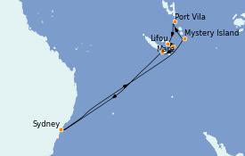 Itinéraire de la croisière Australie 2023 11 jours à bord du Radiance of the Seas