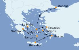 Itinéraire de la croisière Grèce & Adriatique 8 jours à bord du Norwegian Spirit