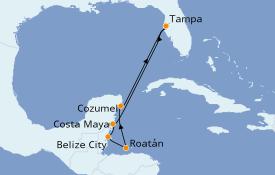 Itinéraire de la croisière Caraïbes de l'Ouest 8 jours à bord du Rhapsody of the Seas
