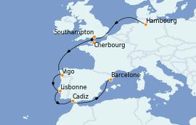 Itinéraire de la croisière Méditerranée 10 jours à bord du MSC Orchestra