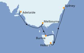 Itinéraire de la croisière Australie 2021 7 jours à bord du Sea Princess