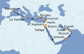 Itinéraire de la croisière Mer Rouge 22 jours à bord du Seven Seas Voyager