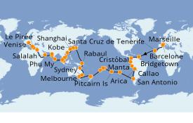 Itinéraire de la croisière Tour du Monde 2020 108 jours à bord du Costa Deliziosa