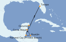 Itinéraire de la croisière Caraïbes de l'Ouest 8 jours à bord du Norwegian Dawn