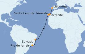 Itinéraire de la croisière Transatlantiques et Grands Voyages 2020 13 jours à bord du MSC Grandiosa