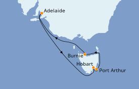 Itinéraire de la croisière Australie 2020 8 jours à bord du Sea Princess