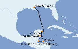 Itinéraire de la croisière Caraïbes de l'Ouest 8 jours à bord du Norwegian Breakaway