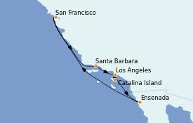 Itinéraire de la croisière Californie 9 jours à bord du MS Regatta