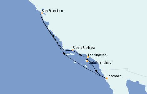 Itinéraire de la croisière Californie 8 jours à bord du Regatta