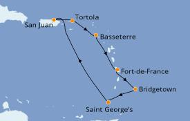 Itinéraire de la croisière Caraïbes de l'Est 8 jours à bord du Enchantment of the Seas