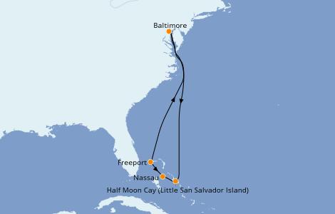 Itinéraire de la croisière Bahamas 7 jours à bord du Carnival Legend