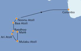 Itinéraire de la croisière Maldives 9 jours à bord du Le Lapérouse