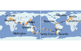 Itinéraire de la croisière Tour du Monde 2022 127 jours à bord du Costa Deliziosa