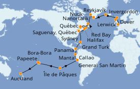 Itinéraire de la croisière Tour du Monde 2021 53 jours à bord du Sea Princess