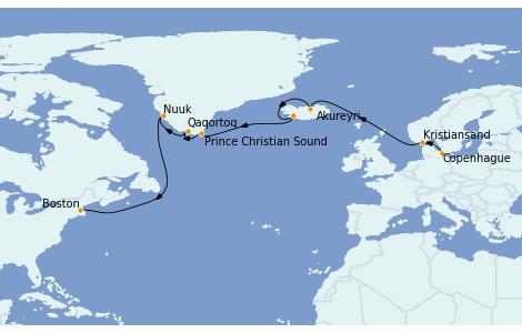 Itinéraire de la croisière Transatlantiques et Grands Voyages 2022 14 jours à bord du Voyager of the Seas