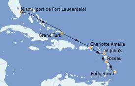 Itinéraire de la croisière Caraïbes de l'Est 8 jours à bord du Silver Whisper