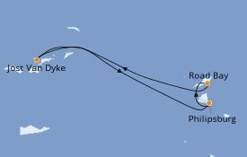 Itinéraire de la croisière Caraïbes de l'Est 8 jours à bord du Star Flyer