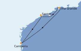 Itinéraire de la croisière Amérique du Sud 5 jours à bord du Costa Fascinosa