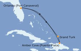 Itinéraire de la croisière Caraïbes de l'Est 6 jours à bord du Carnival Elation