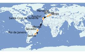 Itinéraire de la croisière Transatlantiques et Grands Voyages 2022 18 jours à bord du MSC Seaside