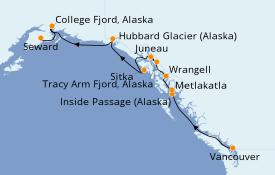 Itinéraire de la croisière Alaska 11 jours à bord du Silver Muse