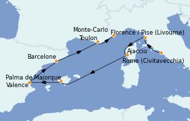Itinéraire de la croisière Méditerranée 9 jours à bord du MS Marina