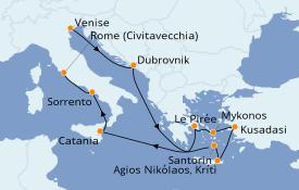 Itinéraire de la croisière Grèce & Adriatique 13 jours à bord du Pacific Princess