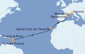 Itinéraire de la croisière Transatlantiques et Grands Voyages 2020 14 jours à bord du Costa Magica