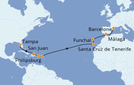 Itinéraire de la croisière Méditerranée 17 jours à bord du Carnival Legend