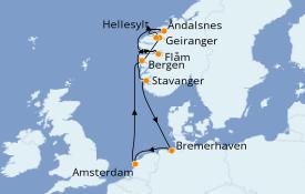 Itinéraire de la croisière Fjords & Norvège 10 jours à bord du Costa Favolosa
