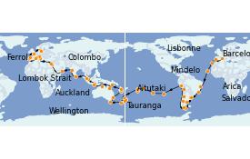 Itinéraire de la croisière Tour du Monde 2022 127 jours à bord du MSC Poesia
