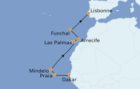 Itinéraire de la croisière Îles Canaries 11 jours à bord du L'Austral