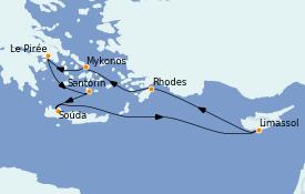 Itinéraire de la croisière Grèce & Adriatique 8 jours à bord du Jewel of the Seas