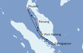 Itinéraire de la croisière Asie 6 jours à bord du Sapphire Princess