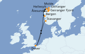 Itinéraire de la croisière Fjords & Norvège 10 jours à bord du Carnival Legend