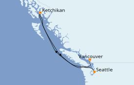 Itinéraire de la croisière Alaska 5 jours à bord du Regal Princess