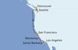 Itinéraire de la croisière Californie 8 jours à bord du Seabourn Odyssey