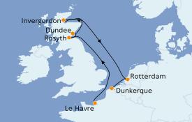 Itinéraire de la croisière Îles Britanniques 8 jours à bord du Jules Verne
